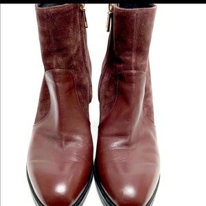 Tods Leather Maroon Ankle Boots Women's IT Size:37